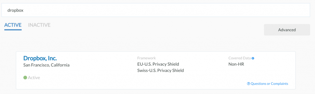 Privacy Shield - Dropbox - RGPD